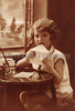 "Letter Writing - Young girl sealing the envelope of her letter - a vintage photograph. NOTE: This image is only available in the 1-megapixel size (do not waste your money on the 4-megapixel and ""Original"" size, as they are still only 1-megapixel when opened :)"