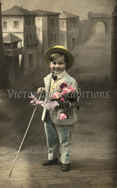 "Portrait of a young boy with top hat and cane in front of a painted background - a vintage, hand-tinted photograph. NOTE: This image is only available in the 1-megapixel size (do not waste your money on the 4-megapixel and ""Original"" size, as they are still only 1-megapixel when opened :)"