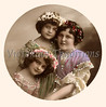 "A Circular Portrait of mother and daughters - a vintage,  hand-tinted photograph. NOTE: This image is only available in the 1-megapixel size (do not waste your money on the 4-megapixel and ""Original"" size, as they are still only 1-megapixel when opened :)"