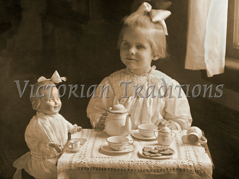 "Little girl having a tea party with her doll - a vintage photograph. NOTE: This image is only available in the 1-megapixel size (do not waste your money on the 4-megapixel or ""Original"" size, as they are still only 1-megapixel when opened :)"