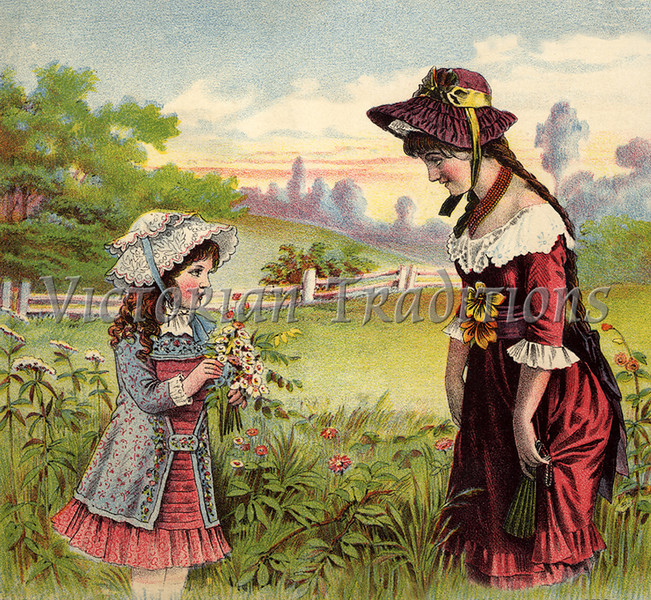 "Mother and daughter picking flowers outdoors - a vintage illustration. NOTE: This image is only available in the 1-megapixel size (do not waste your money on the 4-megapixel or ""Original"" size, as they are still only 1-megapixel when opened :)"