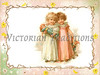 "Two little girls playing with their dolls - a vintage illustration, framed by flowers and branches. NOTE: This image is only available in the 1-megapixel size (do not waste your money on the 4-megapixel or ""Original"" size, as they are still only 1-megapixel when opened :)"