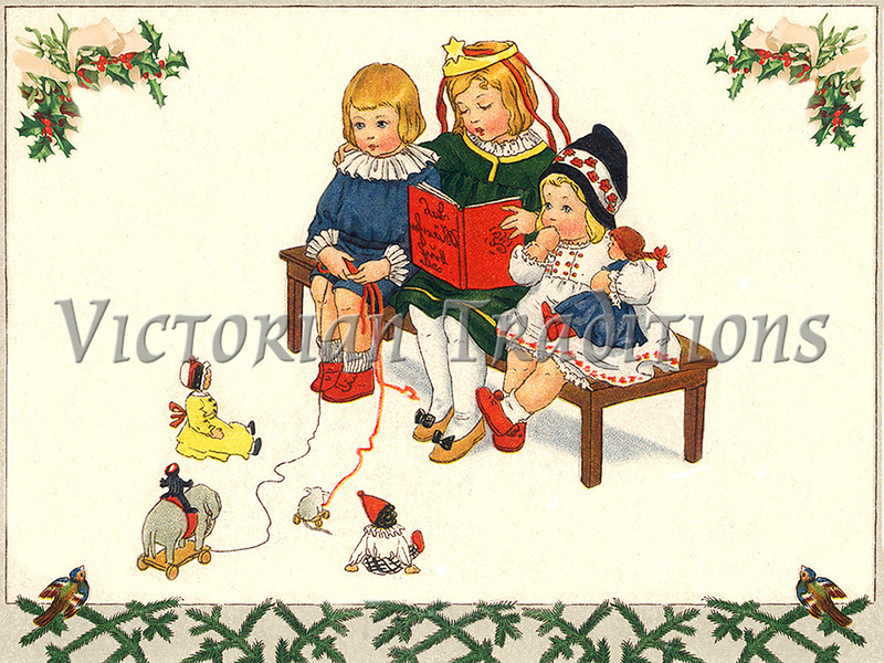 "Children reading a Christmas story while playing with their toys - a vintage illustration. NOTE: This image is only available in the 1-megapixel size (do not waste your money on the 4-megapixel or ""Original"" size, as they are still only 1-megapixel when opened :)"