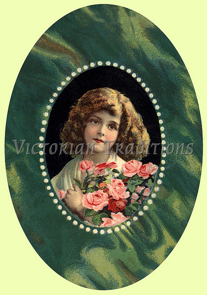 "Portrait of a little girl with roses - a vintage illustration. NOTE: This image is only available in the 1-megapixel size (do not waste your money on the 4-megapixel or ""Original"" size, as they are still only 1-megapixel when opened :)"