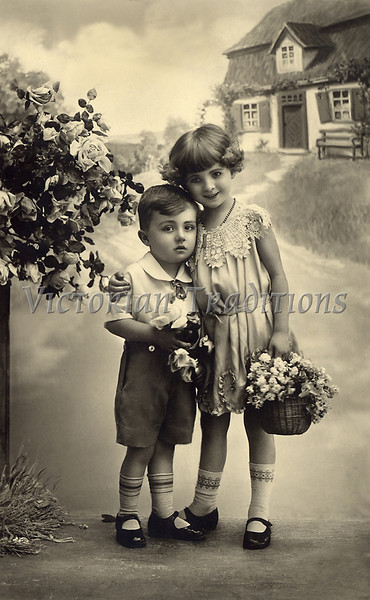 "Portrait of Young Brother and Sister, with flowers and painted background - a vintage photograph. NOTE: This image is only available in the 1-megapixel size (do not waste your money on the 4-megapixel and ""Original"" size, as they are still only 1-megapixel when opened :)"