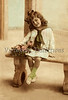 "Portrait of a young girl sitting on a bench with a flower basket - a vintage,  hand-tinted photograph. NOTE: This image is only available in the 1-megapixel size (do not waste your money on the 4-megapixel and ""Original"" size, as they are still only 1-megapixel when opened :)"