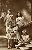 "Group Portrait of children with flower gifts for Mother's Day - a vintage,  hand-tinted photograph. NOTE: This image is only available in the 1-megapixel size (do not waste your money on the 4-megapixel and ""Original"" size, as they are still only 1-megapixel when opened :)"