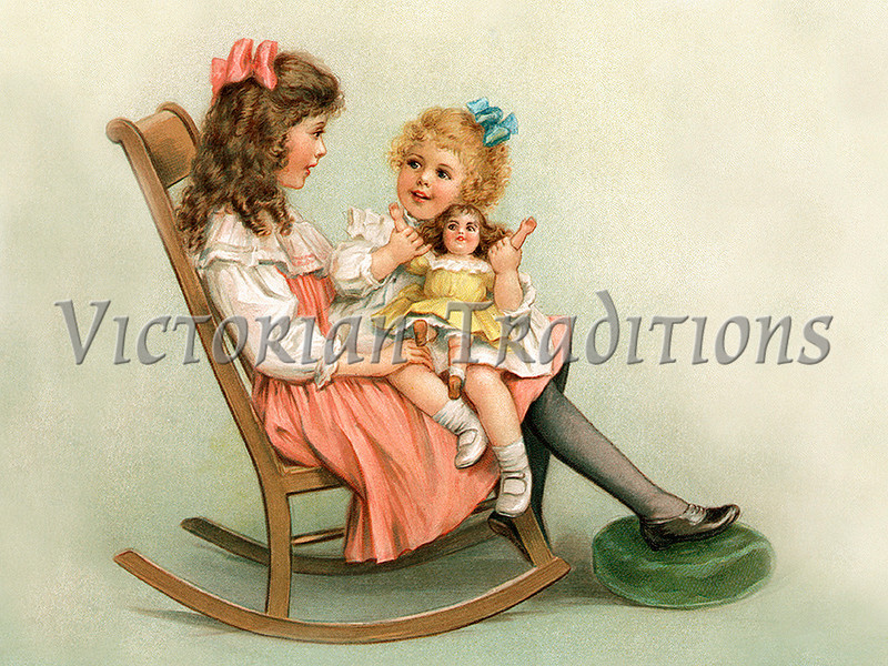 "Two young girls sitting in a rocking chair, talking and playing with a doll - vintage illustration. NOTE: This image is only available in the 1-megapixel size (do not waste your money on the 4-megapixel or ""Original"" size, as they are still only 1-megapixel when opened :)"