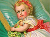"Little girl holding her doll while lying on a pillow - vintage illustration. NOTE: This image is only available in the 1-megapixel size (do not waste your money on the 4-megapixel or ""Original"" size, as they are still only 1-megapixel when opened :)"