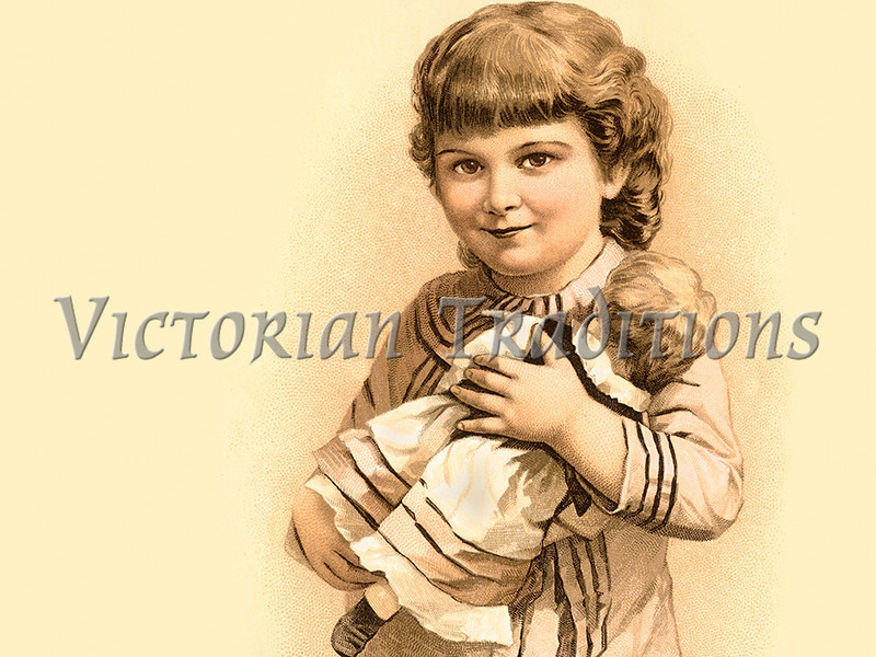 "Young girl holding her doll - vintage illustration. NOTE: This image is only available in the 1-megapixel size (do not waste your money on the 4-megapixel or ""Original"" size, as they are still only 1-megapixel when opened :)"