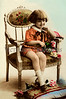 "Portait of a young boy sitting in a Victorian chair holding flowers - a vintage, hand-tinted photograph. NOTE: This image is only available in the 1-megapixel size (do not waste your money on the 4-megapixel and ""Original"" size, as they are still only 1-megapixel when opened :)"