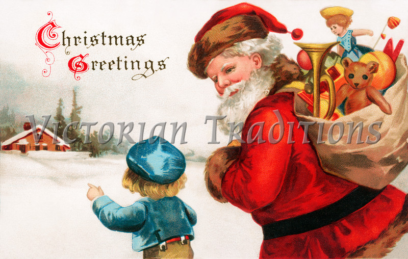 "'Christmas Greetings' - Santa Claus asking directions from a little boy - a circa 1914 vintage greeting card illustration. Your purchased prints & downloads will NOT have ""Victorian Traditions"" watermark."