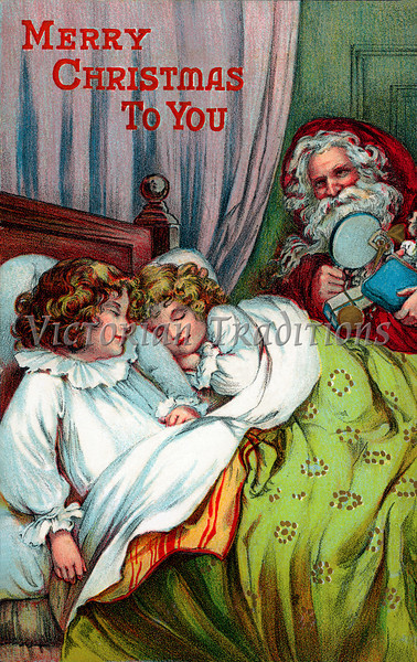 A vintage Christmas greeting card illustration of Santa giving gifts at a child's bedside - circa 1899 (licensed from the Nancy Rosin Collection)