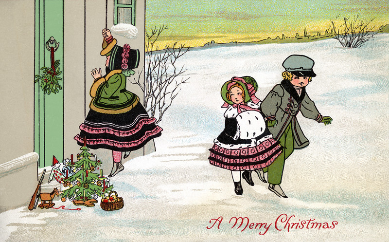 Leaving Christmas gifts on the doorstep of a home on Christmas Eve -- a 1912 Vintage Greeting Card Illustration.