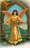 """Christmas angel - a 1908 vintage greeting card illustration. Note: largest """"Original"""" size download of this image is 9Mb (3 Mpix) or 1400 x 2248 pixels. Your purchased prints & downloads will NOT have """"Victorian Traditions"""" watermark."""