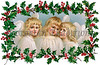 "3 Little Christmas Angels with Holly Frame - a 1910 vintage illustration. Your purchased prints & downloads will NOT have ""Victorian Traditions"" watermark."