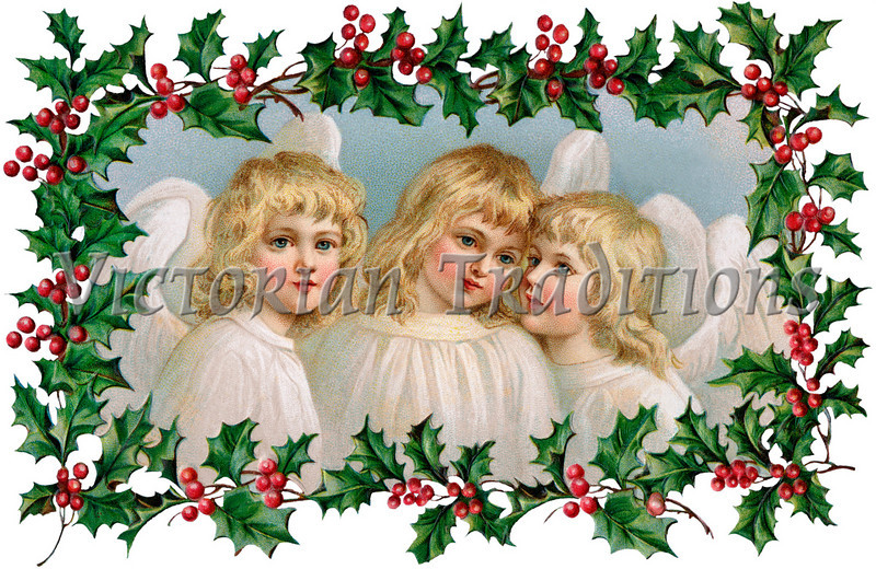 """3 Little Christmas Angels with Holly Frame - a 1910 vintage illustration. Your purchased prints & downloads will NOT have """"Victorian Traditions"""" watermark."""