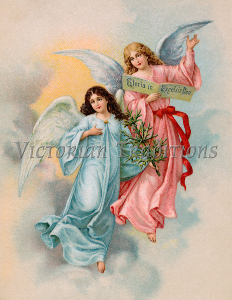 """Christmas Angels with evergreen tree - a 1901 Swedish vintage illustration. Your purchased prints & downloads will NOT have """"Victorian Traditions"""" watermark."""