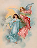 "Christmas Angels with evergreen tree - a 1901 Swedish vintage illustration. Your purchased prints & downloads will NOT have ""Victorian Traditions"" watermark."