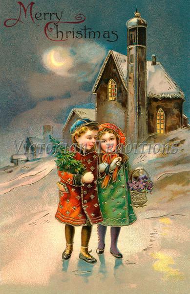 'Merry Christmas' - Children on a moon lit Christmas eve - a circa 1912 vintage greeting card illustration