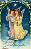 Christmas angels - a 1910 vintage greeting card illustration