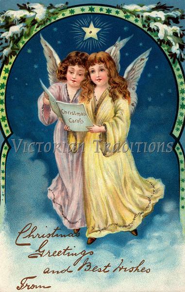 Christmas angels - a 1910 vintage greeting card illustration