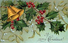 Christmas bells, holly, and mistletoe - a circa 1910 vintage Christmas illustration.