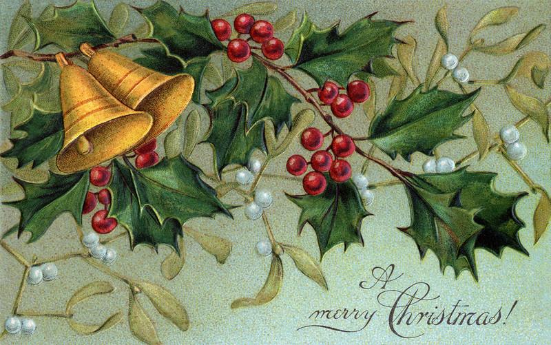 Christmas bells, holly, and mistletoe - a circa 1910 vintage Christmas illustration.