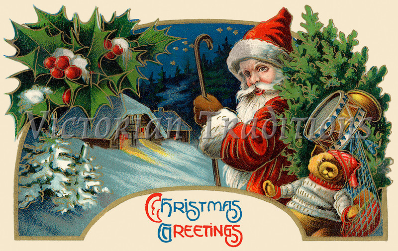 """'Christmas Greetings' - Santa Claus making a delivery - circa 1914 vintage greeting card illustration. Your purchased prints & downloads will NOT have """"Victorian Traditions"""" watermark."""