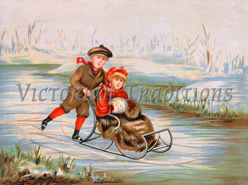 Winter Wonderland - a circa 1890 vintage illustration.