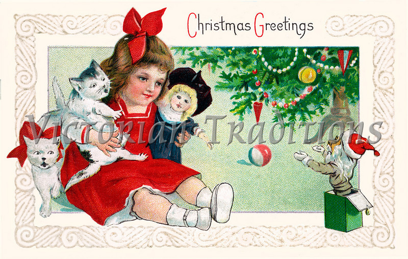 A vintage Christmas greeting card illustration of a little girl playing with toys under the Xmas tree - circa 1901 (licensed from the Nancy Rosin Collection)
