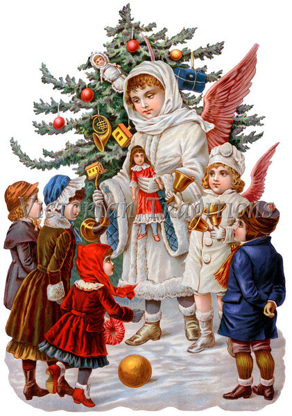 "A Victorian illustration of Christmas angels giving gifts to children - circa 1890 (licensed from the Nancy Rosin Collection). Your purchased prints & downloads will NOT have ""Victorian Traditions"" watermark."
