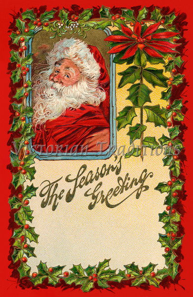 """Santa's Greeting - an early 1900s vintage greeting card illustration. Your purchased prints & downloads will NOT have """"Victorian Traditions"""" watermark."""