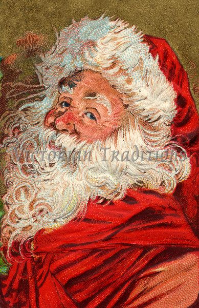 "Santa's Greeting - a vintage greeting card illustration (circa 1910). Your purchased prints & downloads will NOT have ""Victorian Traditions"" watermark."