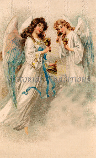 "Christmas angels - a 1912 vintage illustration. Note: largest ""Original"" size download of this image is 7Mb (2.3 Mpix) or 1200 x 1967 pixels. Your purchased prints & downloads will NOT have ""Victorian Traditions"" watermark."