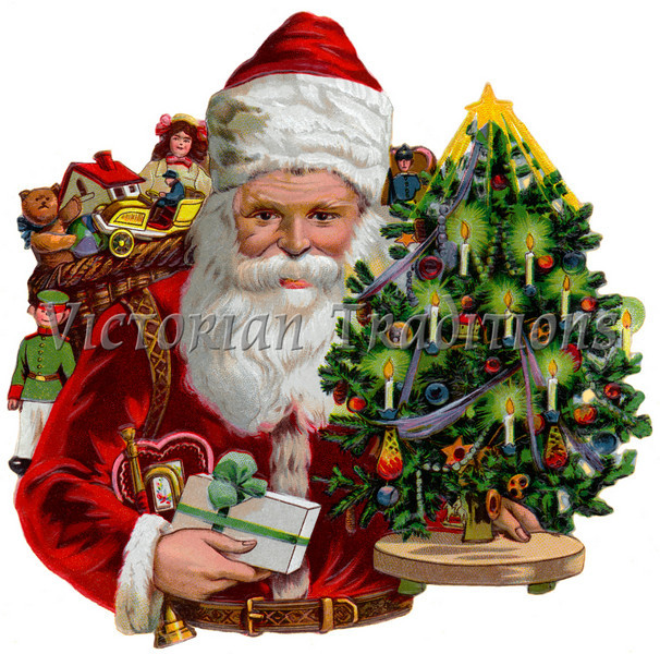 """A vintage Christmas illustration of Santa Claus with a tree and gifts - circa 1890 (licensed from the Nancy Rosin Collection). Your purchased prints & downloads will NOT have """"Victorian Traditions"""" watermark."""