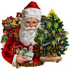 "A vintage Christmas illustration of Santa Claus with a tree and gifts - circa 1890 (licensed from the Nancy Rosin Collection). Your purchased prints & downloads will NOT have ""Victorian Traditions"" watermark."