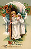 Children in night gowns at front door on Christmas Eve - a circa 1910 vintage greeting card illustration