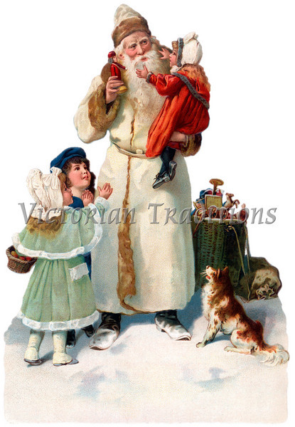 "A vintage Christmas illustration of St. Nicholas giving gifts to children - circa 1890 (licensed from the Nancy Rosin Collection). Your purchased prints & downloads will NOT have ""Victorian Traditions"" watermark."