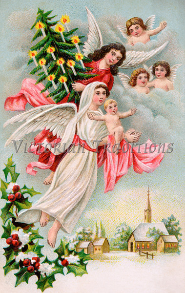 "Christmas Angels with Christ child & evergreen tree - a 1910 vintage illustration. Your purchased prints & downloads will NOT have ""Victorian Traditions"" watermark."