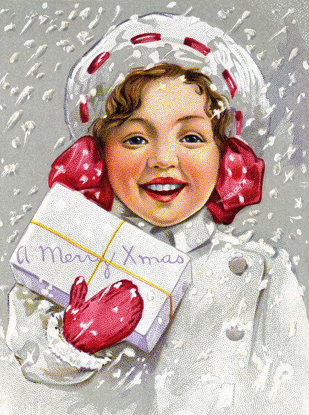 A happy portrait of a little girl holding a Christmas present as snow is falling all around and on her. this is a circa 1910 vintage Christmas card illustration.