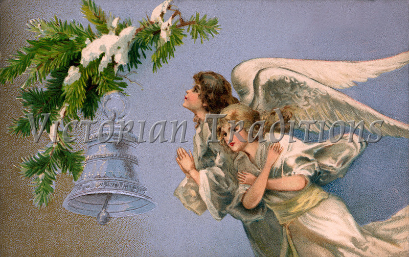"Christmas angels - a 1905 vintage illustration. Note: largest ""Original"" size download of this image is 7Mb (2.3 Mpix) or 1906 x 1200 pixels. Your purchased prints & downloads will NOT have ""Victorian Traditions"" watermark."