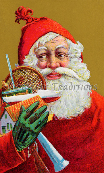 """Jolly Santa Claus with Christmas gifts - a 1908 vintage illustration. Your purchased prints & downloads will NOT have """"Victorian Traditions"""" watermark."""