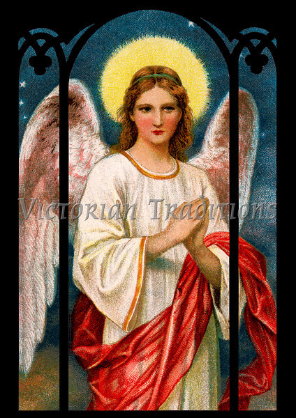 "Christmas angel - a 1909 vintage illustration. Note: largest ""Original"" size download of this image is 7Mb (2.3 Mpix) or 1300 x 1842 pixels. Your purchased prints & downloads will NOT have ""Victorian Traditions"" watermark."