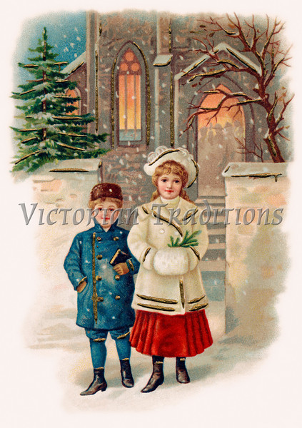 Children attending church on a snowy Christmas eve - a circa 1908 vintage illustration