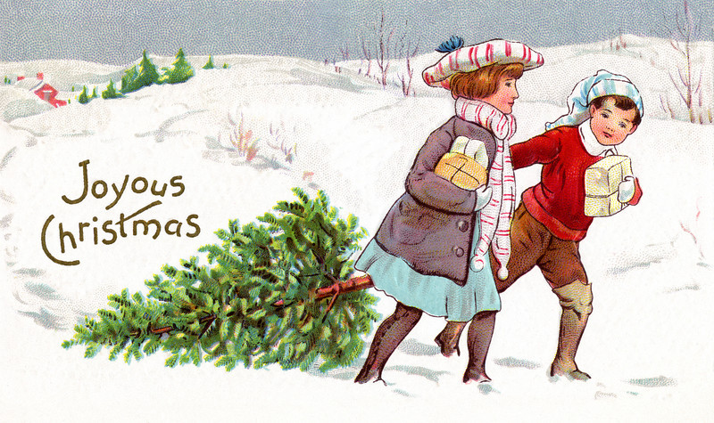 Brother and sister bringing home a fresh-cut Christmas tree and presents as they walk through the snowy countryside.
