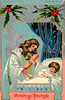"A vintage greeting card illustration of a Christmas angel giving gifts at a child's bedside - circa 1890 (licensed from the Nancy Rosin Collection). Your purchased prints & downloads will NOT have ""Victorian Traditions"" watermark."