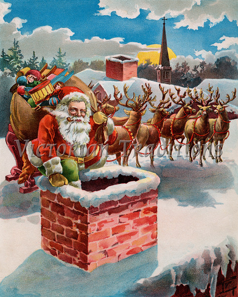 "Santa, reindeer and sleigh on the roof top - circa 1899 illustration. Your purchased prints & downloads will NOT have ""Victorian Traditions"" watermark."