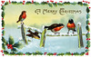 A 1913 Christmas card illustration of winter song birds surrounded by a frame of holly.