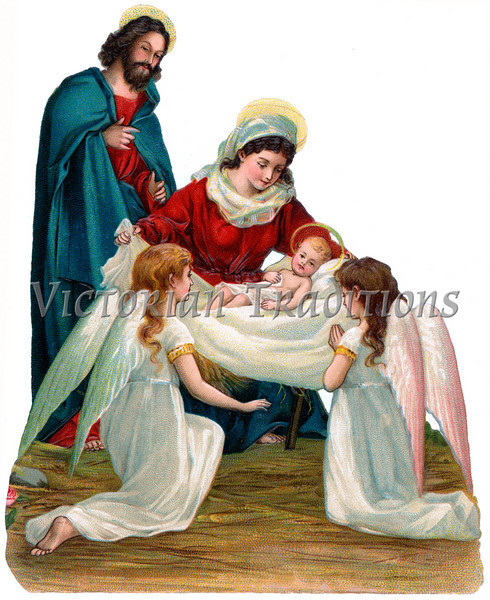A vintage Christmas nativity illustration with angels - circa 1896 (licensed from the Nancy Rosin Collection)